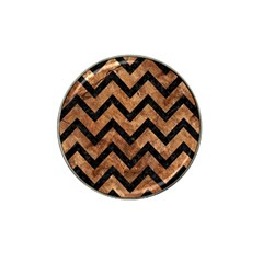 Chevron9 Black Marble & Brown Stone (r) Hat Clip Ball Marker (4 Pack) by trendistuff