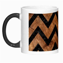 Chevron9 Black Marble & Brown Stone (r) Morph Mug by trendistuff