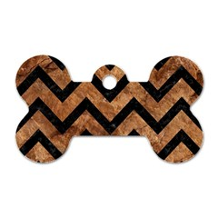 Chevron9 Black Marble & Brown Stone (r) Dog Tag Bone (two Sides) by trendistuff