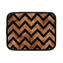 Chevron9 Black Marble & Brown Stone (r) Netbook Case (small) by trendistuff