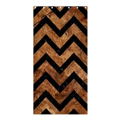 Chevron9 Black Marble & Brown Stone (r) Shower Curtain 36  X 72  (stall) by trendistuff