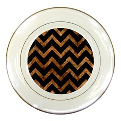 Chevron9 Black Marble & Brown Stone Porcelain Plate by trendistuff