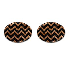 Chevron9 Black Marble & Brown Stone Cufflinks (oval) by trendistuff