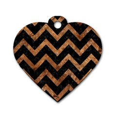 Chevron9 Black Marble & Brown Stone Dog Tag Heart (two Sides) by trendistuff