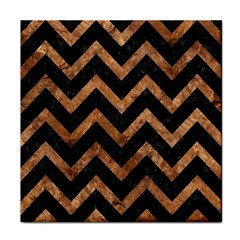 Chevron9 Black Marble & Brown Stone Face Towel by trendistuff