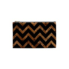 Chevron9 Black Marble & Brown Stone Cosmetic Bag (small) by trendistuff
