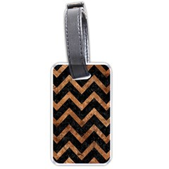 Chevron9 Black Marble & Brown Stone Luggage Tag (two Sides) by trendistuff
