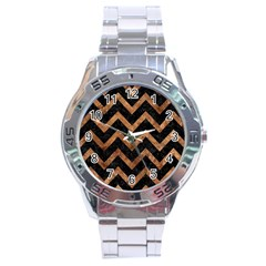 Chevron9 Black Marble & Brown Stone Stainless Steel Analogue Watch by trendistuff