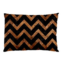 Chevron9 Black Marble & Brown Stone Pillow Case (two Sides) by trendistuff