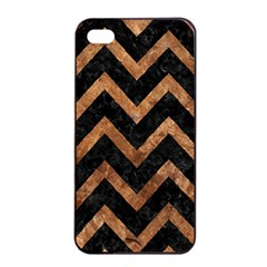 Chevron9 Black Marble & Brown Stone Apple Iphone 4/4s Seamless Case (black) by trendistuff