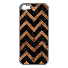 Chevron9 Black Marble & Brown Stone Apple Iphone 5 Case (silver) by trendistuff