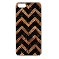 Chevron9 Black Marble & Brown Stone Apple Seamless Iphone 5 Case (clear) by trendistuff