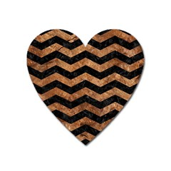 Chevron3 Black Marble & Brown Stone Magnet (heart) by trendistuff