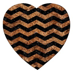 Chevron3 Black Marble & Brown Stone Jigsaw Puzzle (heart) by trendistuff