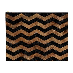 Chevron3 Black Marble & Brown Stone Cosmetic Bag (xl) by trendistuff