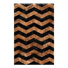 Chevron3 Black Marble & Brown Stone Shower Curtain 48  X 72  (small) by trendistuff