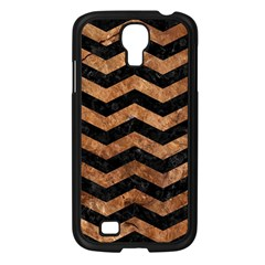 Chevron3 Black Marble & Brown Stone Samsung Galaxy S4 I9500/ I9505 Case (black) by trendistuff
