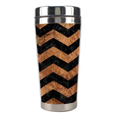 Chevron3 Black Marble & Brown Stone Stainless Steel Travel Tumbler by trendistuff