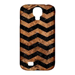 Chevron3 Black Marble & Brown Stone Samsung Galaxy S4 Classic Hardshell Case (pc+silicone) by trendistuff