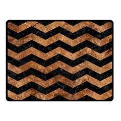 Chevron3 Black Marble & Brown Stone Double Sided Fleece Blanket (small) by trendistuff