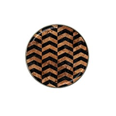 Chevron2 Black Marble & Brown Stone Hat Clip Ball Marker by trendistuff
