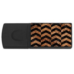 Chevron2 Black Marble & Brown Stone Usb Flash Drive Rectangular (4 Gb) by trendistuff