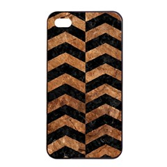 Chevron2 Black Marble & Brown Stone Apple Iphone 4/4s Seamless Case (black) by trendistuff