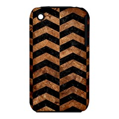 Chevron2 Black Marble & Brown Stone Apple Iphone 3g/3gs Hardshell Case (pc+silicone) by trendistuff