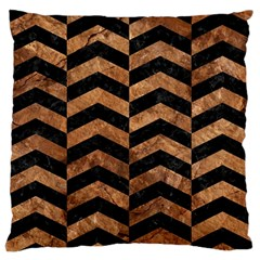 Chevron2 Black Marble & Brown Stone Standard Flano Cushion Case (one Side) by trendistuff