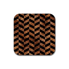 Chevron1 Black Marble & Brown Stone Rubber Square Coaster (4 Pack) by trendistuff