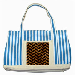 Chevron1 Black Marble & Brown Stone Striped Blue Tote Bag by trendistuff