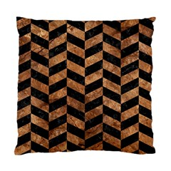 Chevron1 Black Marble & Brown Stone Standard Cushion Case (one Side) by trendistuff
