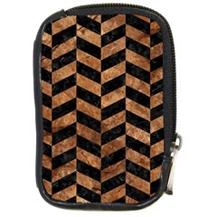 Chevron1 Black Marble & Brown Stone Compact Camera Leather Case by trendistuff