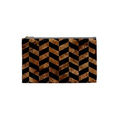 Chevron1 Black Marble & Brown Stone Cosmetic Bag (small) by trendistuff