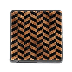 Chevron1 Black Marble & Brown Stone Memory Card Reader (square) by trendistuff