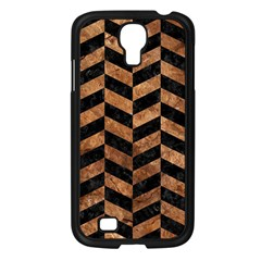 Chevron1 Black Marble & Brown Stone Samsung Galaxy S4 I9500/ I9505 Case (black) by trendistuff