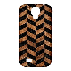 Chevron1 Black Marble & Brown Stone Samsung Galaxy S4 Classic Hardshell Case (pc+silicone) by trendistuff