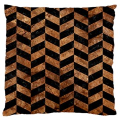 Chevron1 Black Marble & Brown Stone Large Flano Cushion Case (one Side) by trendistuff