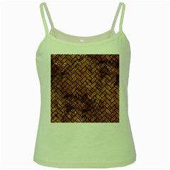 Brick2 Black Marble & Brown Stone (r) Green Spaghetti Tank by trendistuff