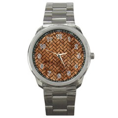 Brick2 Black Marble & Brown Stone (r) Sport Metal Watch by trendistuff