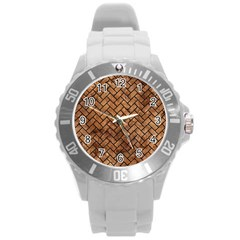 Brick2 Black Marble & Brown Stone (r) Round Plastic Sport Watch (l) by trendistuff