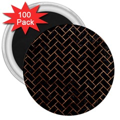 Brick2 Black Marble & Brown Stone 3  Magnet (100 Pack) by trendistuff