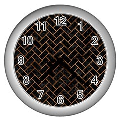Brick2 Black Marble & Brown Stone Wall Clock (silver) by trendistuff