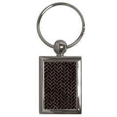 Brick2 Black Marble & Brown Stone Key Chain (rectangle) by trendistuff