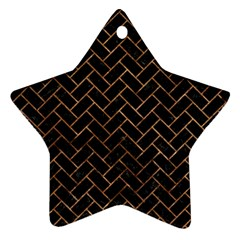 Brick2 Black Marble & Brown Stone Star Ornament (two Sides) by trendistuff