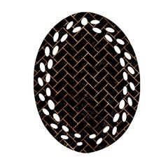 Brick2 Black Marble & Brown Stone Ornament (oval Filigree) by trendistuff
