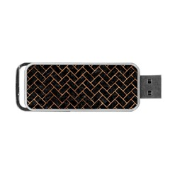 Brick2 Black Marble & Brown Stone Portable Usb Flash (one Side) by trendistuff