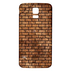 Brick1 Black Marble & Brown Stone (r) Samsung Galaxy S5 Back Case (white)