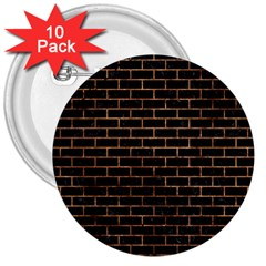 Brick1 Black Marble & Brown Stone 3  Button (10 Pack) by trendistuff