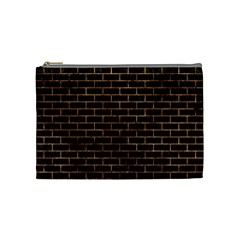 Brick1 Black Marble & Brown Stone Cosmetic Bag (medium) by trendistuff